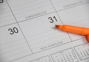 Year-end financial planning guide calendar.